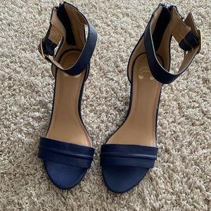 5e606035b40 Charming Charlie. Blue Wedge Sandals